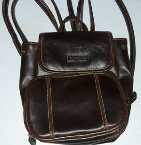 Rosetti Brown Faux Leather Multi Pocket Backpack